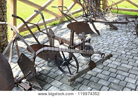 Plough or plow. Peasant Museum in Tourist Complex Siberian Podvorye.