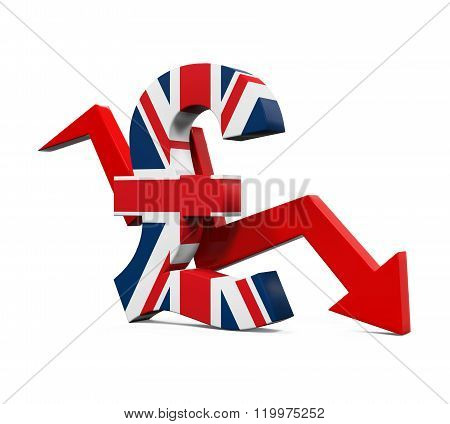 Great Britain Pound Symbol and Red Arrow
