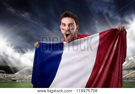 Fan holding the flag of France in the stadium