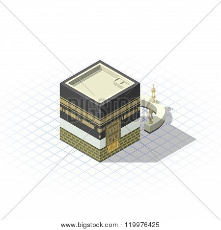 Isometric Kaaba The Muslim Sacred Mosque in The Holy City of Mecca