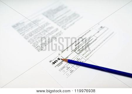 Tax Form 941-v On White Background