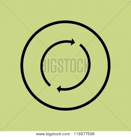 Refresh Icon, On Green Background, Circle Border, Dark Outline