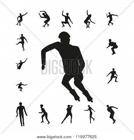 Set people on roller skates silhouette