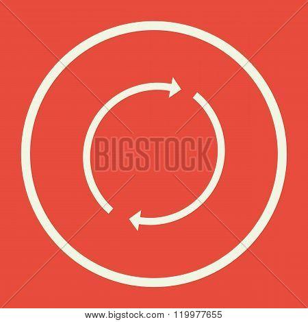 Refresh Icon, On Red Background, White Circle Border, White Outline