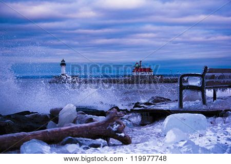Big Waves on Lake Superior by lighthouse in Canal Park Duluth MN. Winter