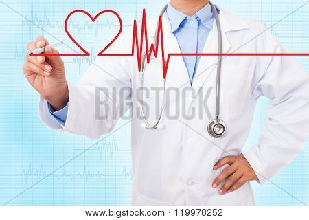 Doctor drawing chart electrocadiogram (ECG) of heartbeat on virtual screen with electrocardiogram on