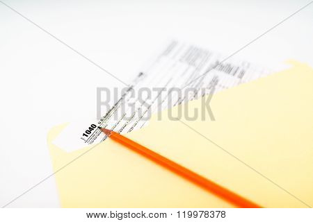 Tax Form 1040 On White Background
