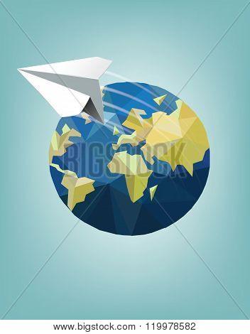 Around The World Flat Icon Illustration
