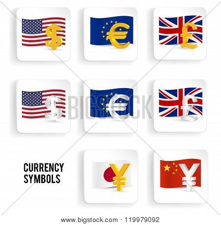 Currency Symbols Icon Set: Dollar, Euro, Pound, Yuan, Yen With Flags. Vector Illustration.