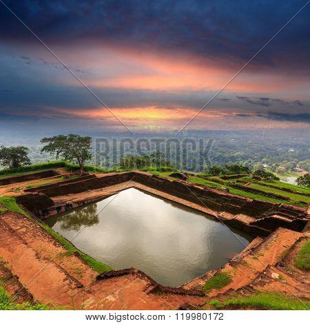 King's swimmig pool in Sigiriya castle. Sri Lanka