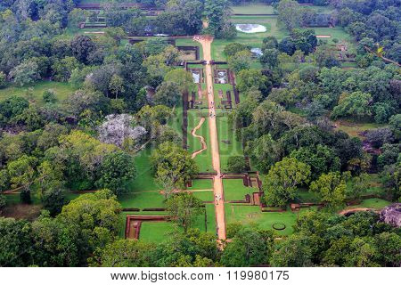 Garden under Sigiriya Rock, view from rock top. Sri Lanka