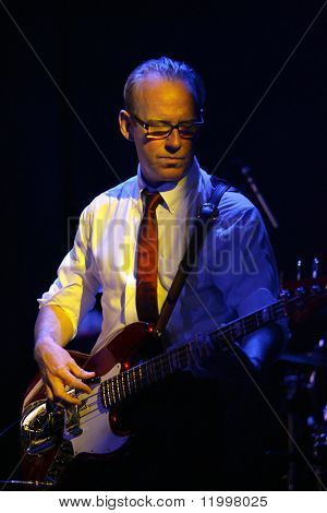 NEW YORK - JULY 16: Mick Conroy of Modern English performs at Le Poisson Rouge on July 16, 2010 in New York City.