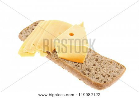 yellow fromage french cheese bar and slice on rye bread isolated over white background