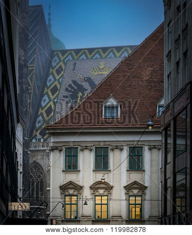 Old Town House And Stephansdom Roof In Vienna.
