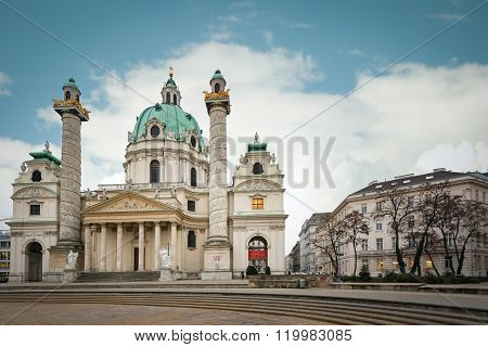 Karlskirche Baroque Church, Vienna, Austria.