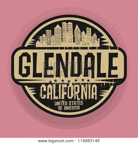 Stamp Or Label With Name Of Glendale, California