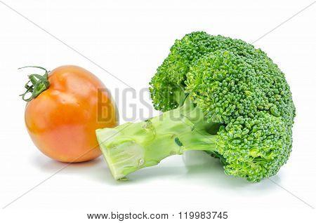 Broccoli And Tomato On White Background.