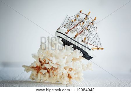 Wooden Ship On White Background