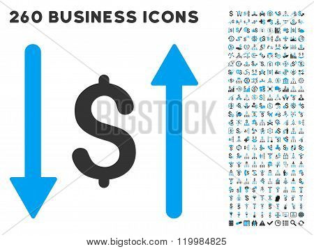 Dollar Swap Icon with Flat Vector Set