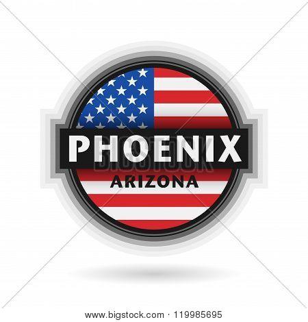 Emblem Or Label With Name Of Phoenix, Arizona