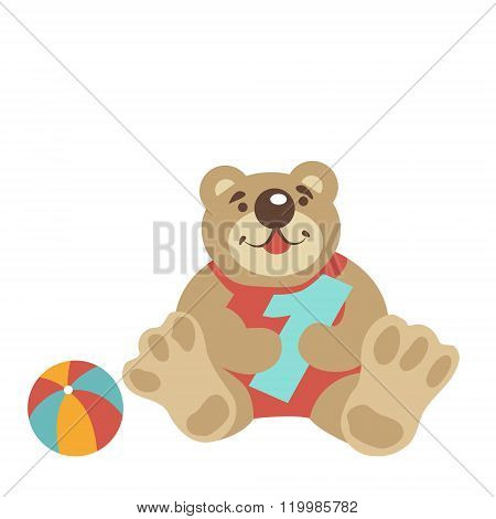 Teddy bear sitting with numeral one, ball