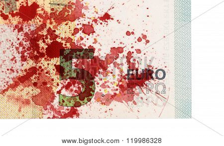 Close-up Of A 5 Euro Bank Note, Stained With Blood