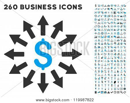 Money Distribution Icon with Flat Vector Set