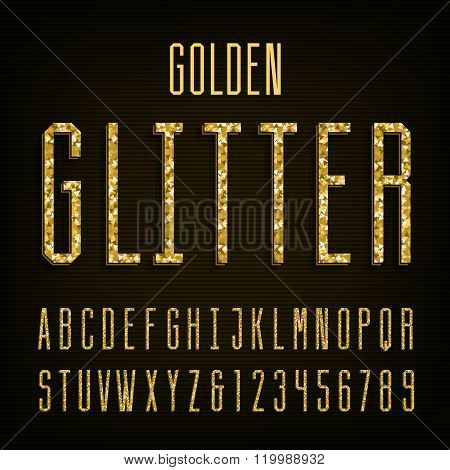 Golden glitter alphabet vector font