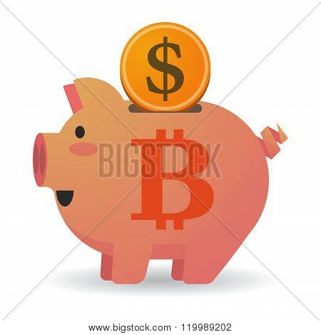 Isolated Piggy Bank With A Bit Coin Sign