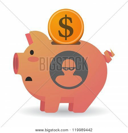 Isolated Piggy Bank With A Thief