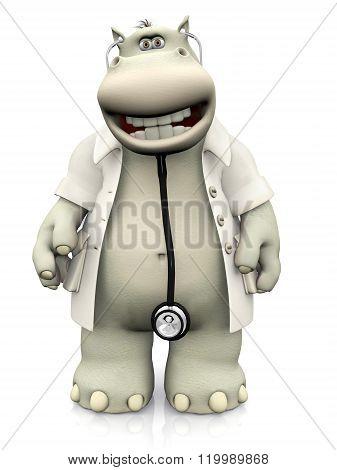 Smiling Cartoon Hippo Doctor.