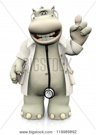 Cartoon Hippo Doctor Holding Up His Finger.