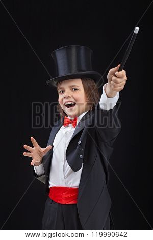 Happy Young Magician