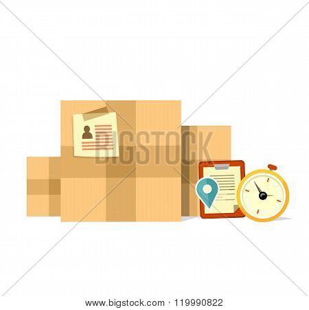 Delivery Box Deadline Design Flat