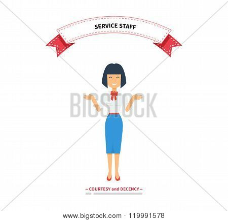 Service Staff Woman Design Flat