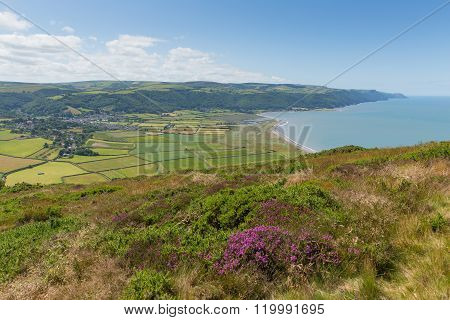 View of Porlock coastline Somerset England uk from the walk to Bossington