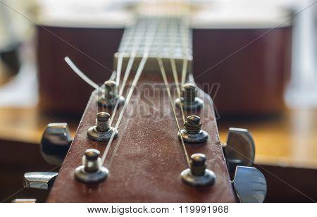 Guitar Strings, close up. Acoustic guitar.