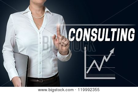Consulting Touchscreen Is Operated By Businesswoman
