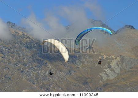 Dueling Paragliders, New Zealand