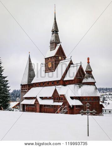 Stave Church At Hahnenklee In The Harz Mountains, Germany