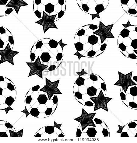Seamless Pattern Of Soccer Balls And Stars.vector