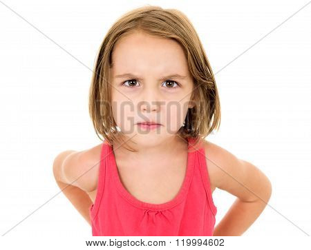 Little Girl Is Angry, Mad And Looking At The Camera