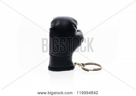 Key Chain Boxing Gloves Isolated On White.