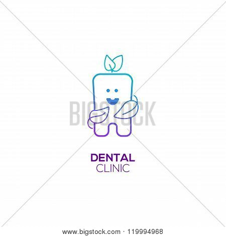 Healthy Tooth with leaves logo