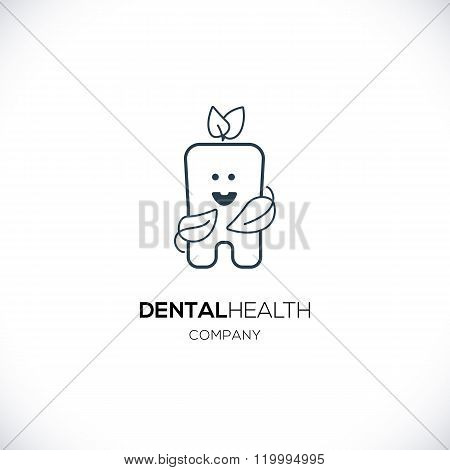 Cute tooth with leaves