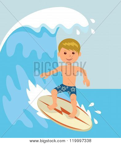 Boy surfer rides on the waves. Concept design of a summer holidays by the ocean
