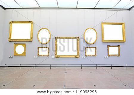 Paris, France, February 10, 2016: pictures hall in Louvre, Paris, France