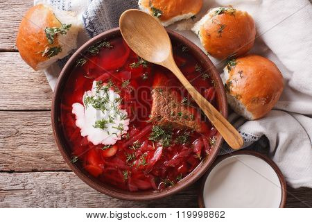 Ukrainian Borsch Soup With Sour Cream Close-up. Horizontal Top View