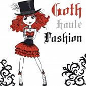 Vector Goth girl in black dress and silk hat poster