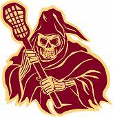 Grim Reaper Lacrosse Defense Pole Retro poster